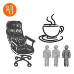 office chair, coffee, tea, people
